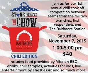 The Baltimore Station's Stars, Stripes and Chow: Chili Edition with Cal Ripken This Saturday