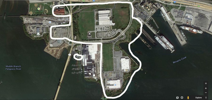 The areas Sagamore Developement have acquired in Port Covington are circled in white.