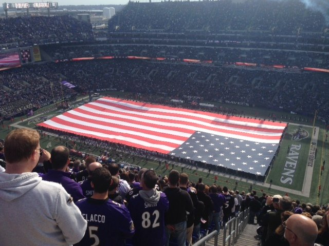 A big American flag at M&T Bank Stadium by Kevin Lynch