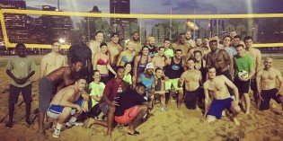 Cam Newton and Carolina Panthers Play Volleyball at Baltimore Beach