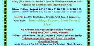 Family Pool Movie Night with Southern District Police on August 26th